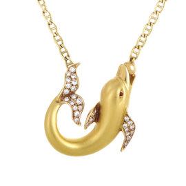 Carrera y Carrera 18K Yellow Gold Diamond & Ruby Dolphin Pendant Necklace