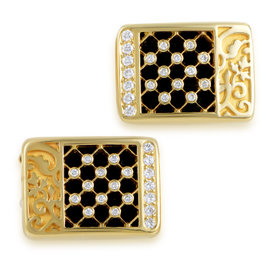 Carrera y Carrera 18K Yellow Gold Sierpes Diamond & Onyx Cufflinks