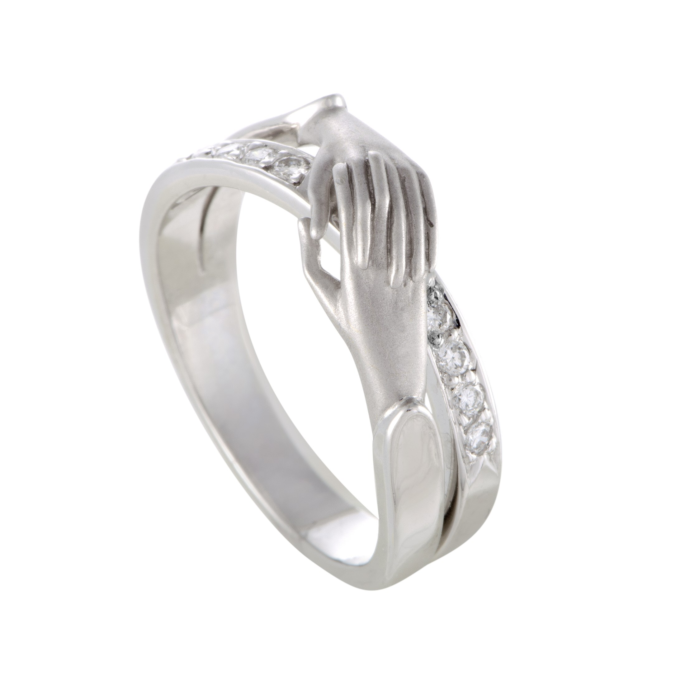 "Image of ""Carrera y Carrera 18K White Gold & 0.10ct. Diamond Pave Dainty Hands"""