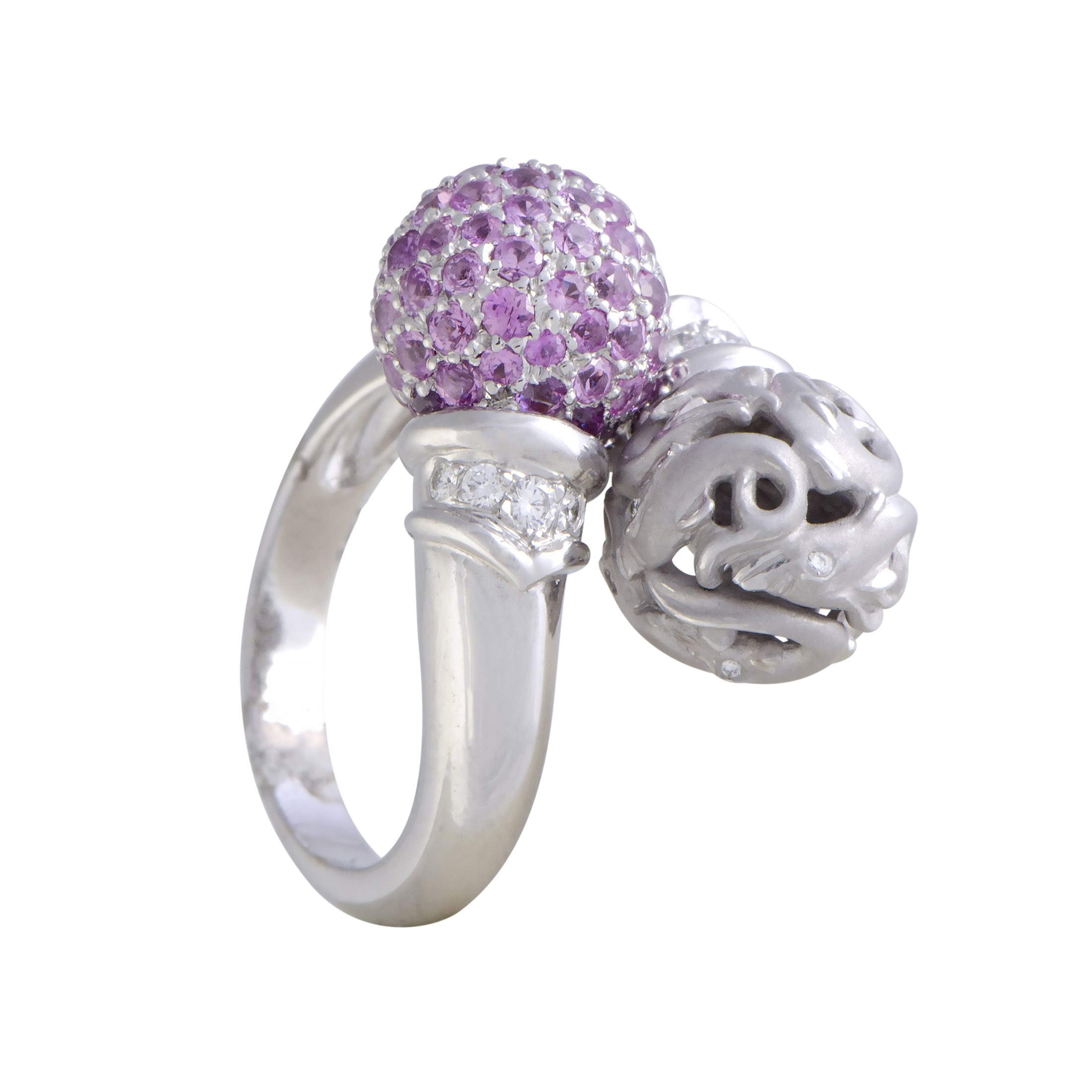 "Image of ""Carrera y Carrera 18K White Gold with Diamond & Pink Sapphire Pave"""