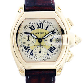 Cartier Roadster W62021Y3 Yellow Gold Chronograph Mens Watch