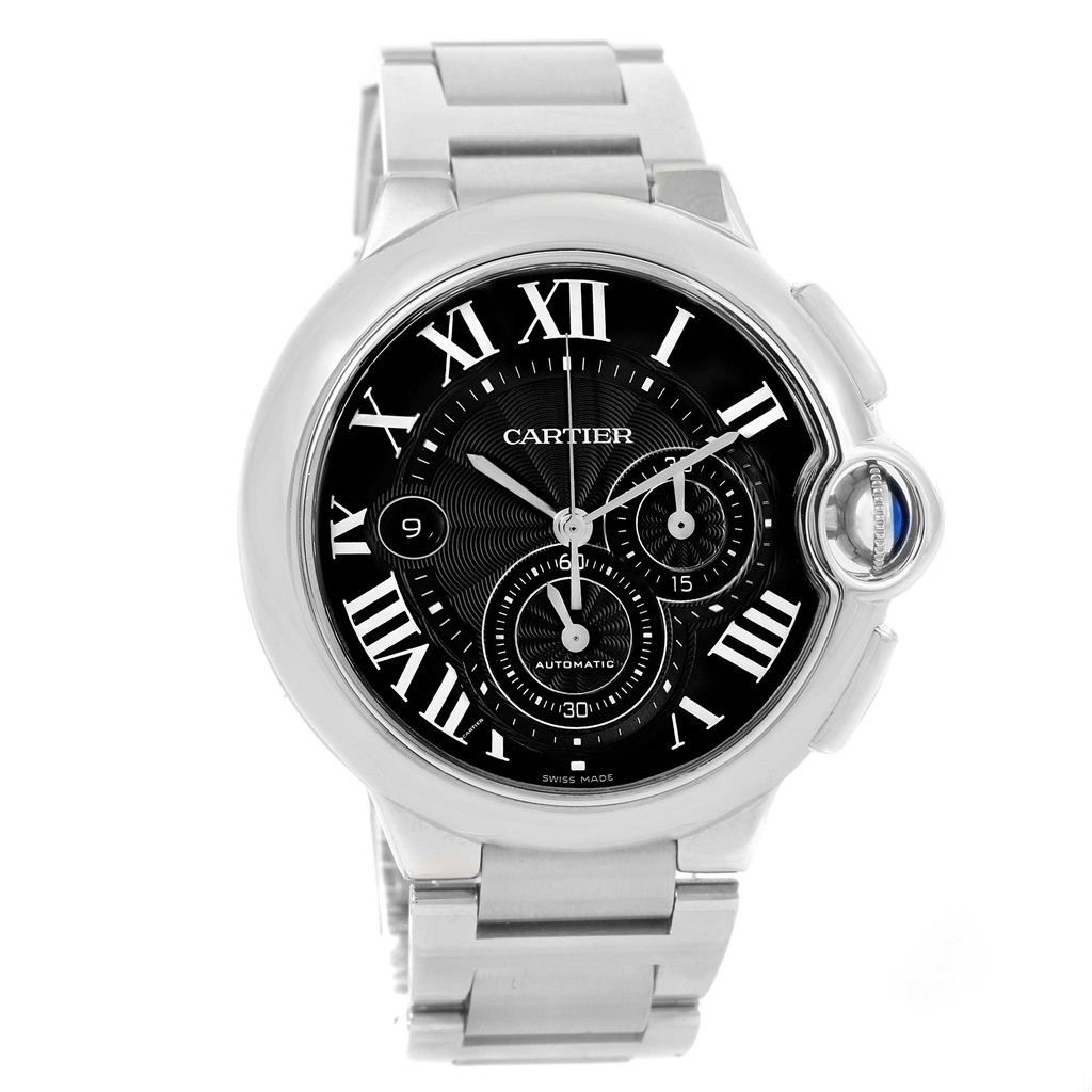 "Image of ""Cartier Ballon Bleu W6920077 Stainless Steel & Black Dial 44mm Mens"""