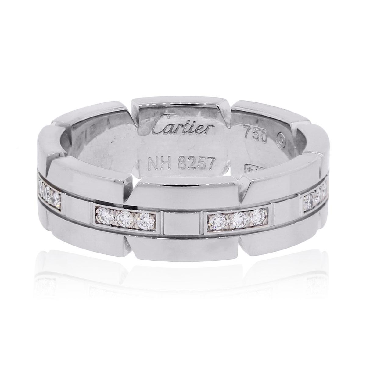 Cartier tank francaise 18k white gold diamond wedding band ring cartier tank francaise 18k white gold diamond wedding band ring size 75 cartier buy at truefacet junglespirit Image collections