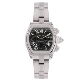 Cartier Roadster XL 2618 Stainless steel Black Chronograph Dial 43mm Mens Watch