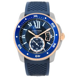 Cartier Calibre Diver W2CA0009 Stainless Steel/18K Rose Gold & Blue Rubber Strap Automatic 42mm Mens Watch