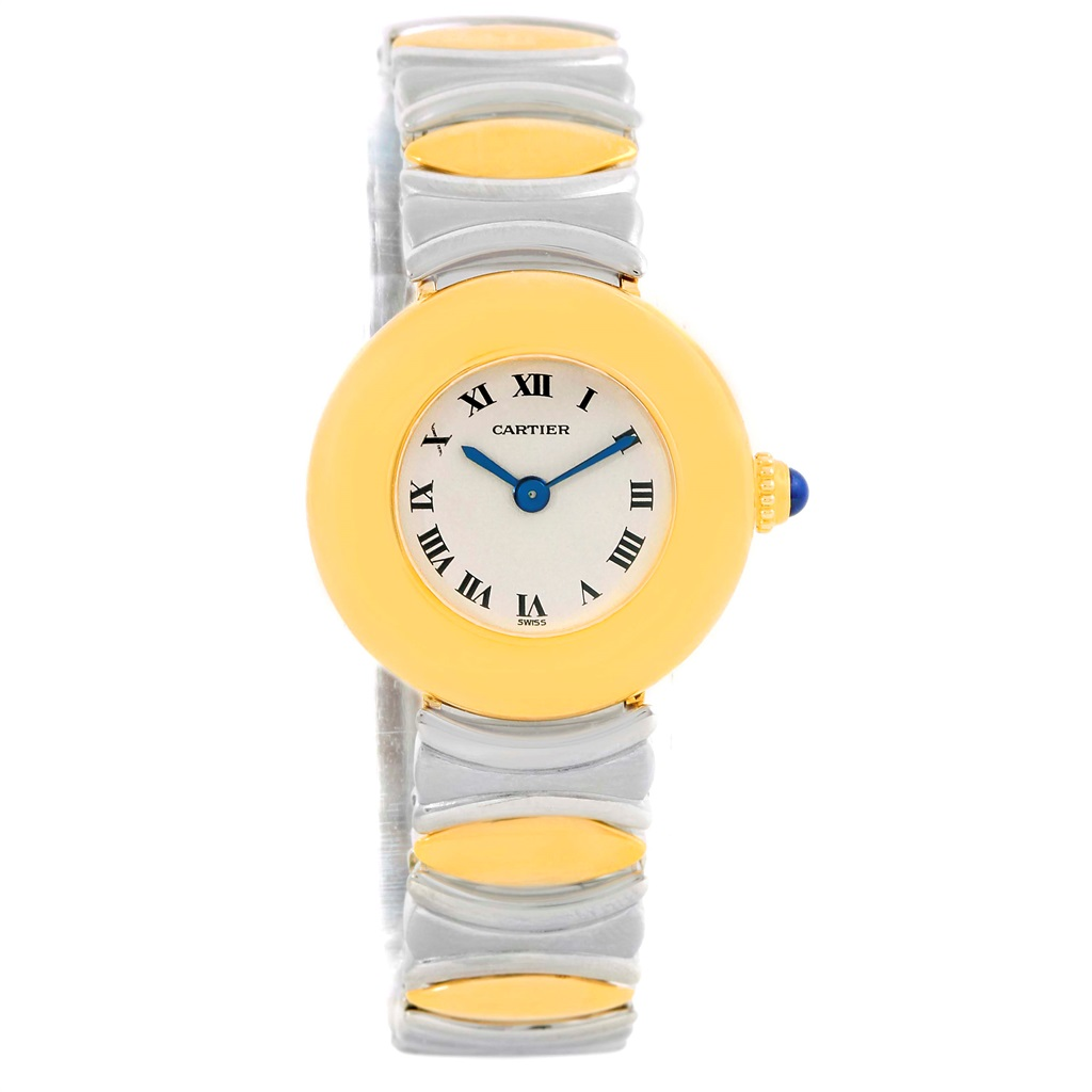"""Image of """"Cartier Baignoire Stainless Steel & 18K Yellow Gold 24mm Womens Watch"""""""