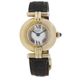 Cartier Must de 21 Vermeil Roman Dial Leather 26mm Womens Watch
