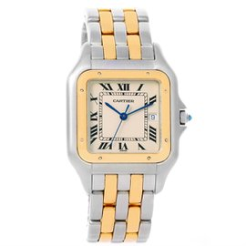 Cartier Panthere Stainless Steel 18K Yellow Gold 29mm Mens Watch
