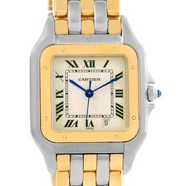 Cartier Panthere W25028B6 Stainless Steel and 18K Yellow Gold Three Row Unisex 26mm Watch