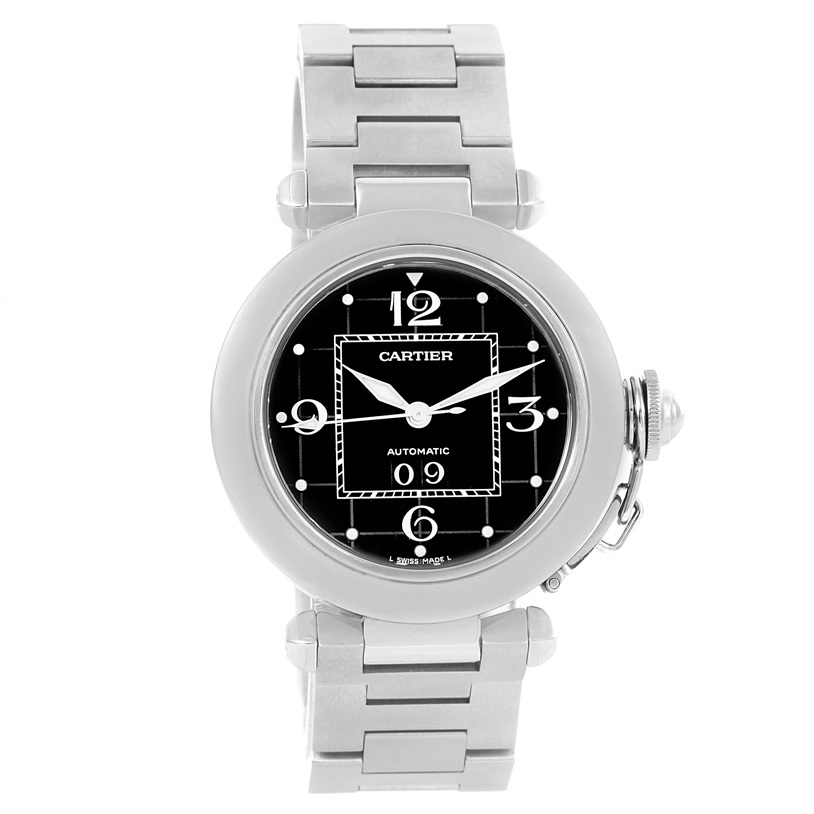 """Image of """"Cartier Pasha C W31053M7 Stainless Steel & Black Dial 35mm Mens Watch"""""""