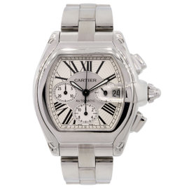 Cartier Roadster XL 2618 Chronograph Stainless Steel Silver Roman Dial 48mm Mens Watch
