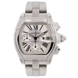Cartier Roadster XL 2618 Chronograph Silver Roman Dial Watch