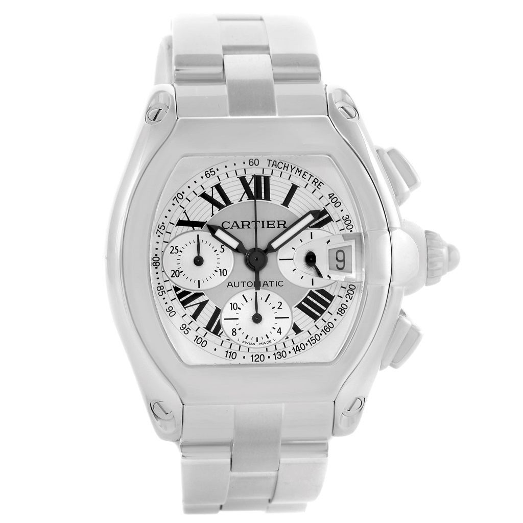"Image of ""Cartier Roadster W62006X6 Stainless Steel Silver Dial 43mm Mens Watch"""