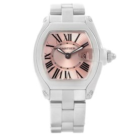 Cartier Roadster W62017V3 Stainless Steel Pink Roman Dial 30mm Womens Watch