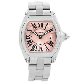 Cartier Roadster W62017V3 Stainless Steel & Pink Dial Quartz 30mm Womens Watch