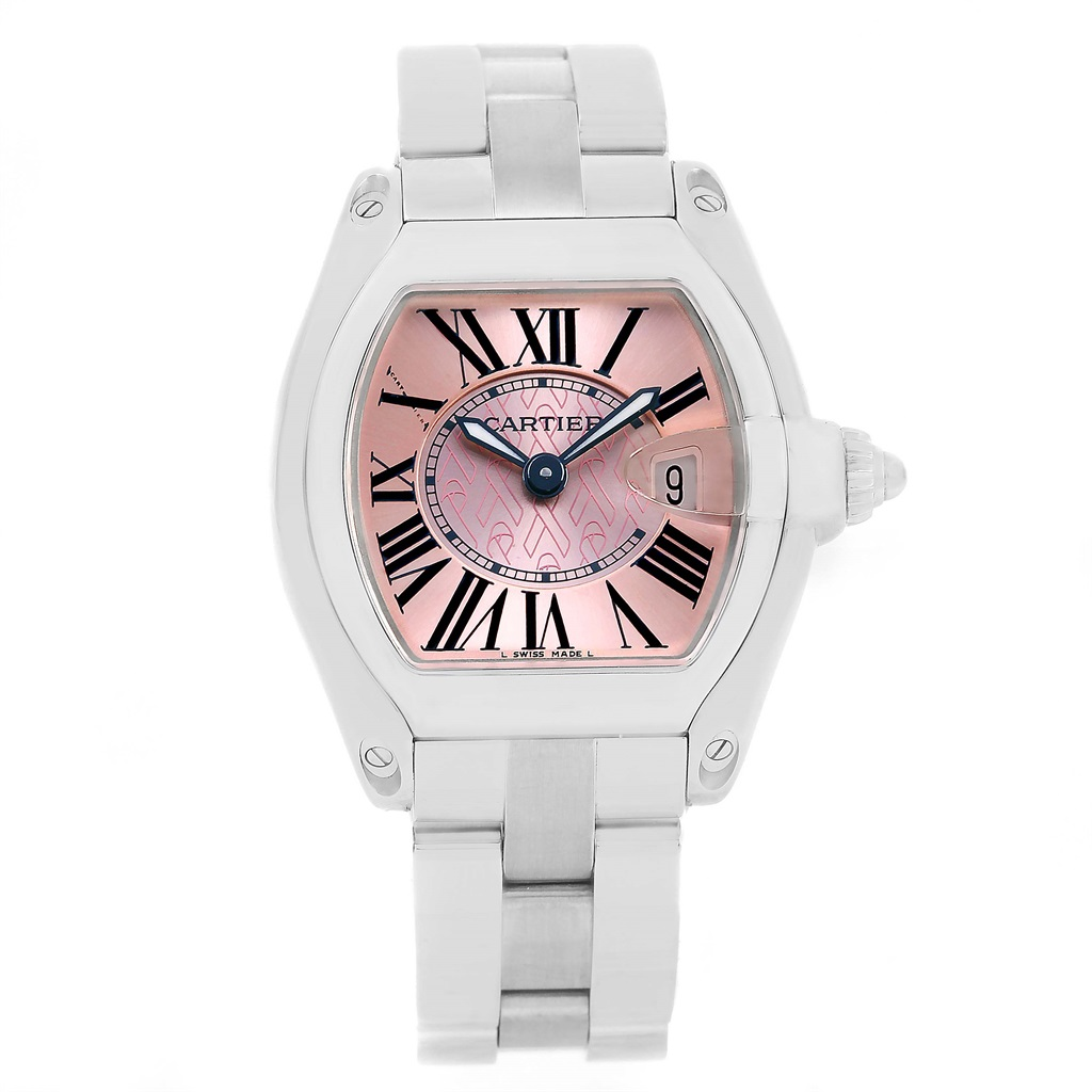 """Image of """"Cartier Roadster W62043V3 Stainless Steel & Pink Dial 30mm Womens"""""""