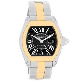 Cartier Roadster W62031Y4 Stainless Steel & 18K Yellow Gold Black Dial 38mm Mens Watch