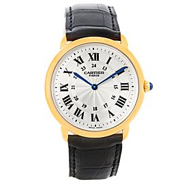 Cartier Ronde Louis Privee 18K Yellow Gold & Silver Dial 33mm Mens Watch