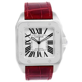 Cartier Santos 100 W20073X8 Stainless Steel & Silver Dial 38mm Mens Watch