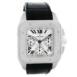 Cartier Santos 100 W20090X8 Crocodile Leather Automatic Chronograph 42mm Mens Watch