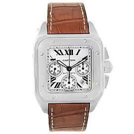 Cartier Santos 100 W20090X8 Stainless Steel & Leather Silver Dial Automatic 42mm Mens Watch