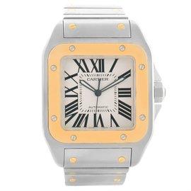 Cartier Santos 100 W200728G Stainless Steel & 18K Yellow Gold 38mm Mens Watch