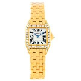 Cartier Santos Demoiselle WF9001Y7 18K Yellow Gold Diamond 22mm Womens Watch