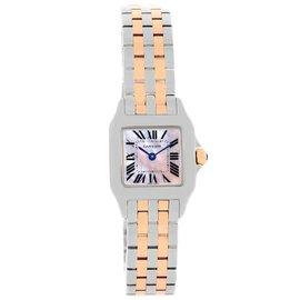 Cartier Santos W25074Y9 Demoiselle Stainless Steel 18K Rose Gold 22mm Womens Watch