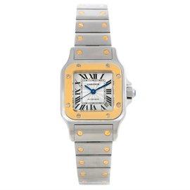 Cartier Santos W20057C4 Stainless Steel 18K Yellow Gold 24mm Womens Watch