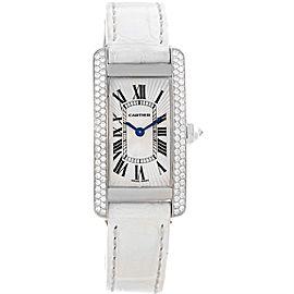 Cartier Tank Americaine WB701851 18K White Gold Diamond 19mm Womens Watch