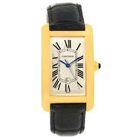 Cartier Tank Americaine W2603156 18K Yellow Gold 26.6mm Mens Watch