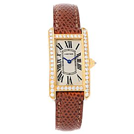 Cartier Tank Americaine WB707231 18K Yellow Gold Diamond 19mm Womens Watch