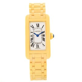 Cartier Tank Americaine W26015K2 18K Yellow Gold 19mm Womens Watch