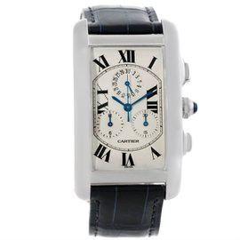 Cartier Tank Americaine W2603356 Chronograph 18K White Gold 26.6mm Unisex Watch