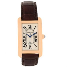 Cartier Tank Americaine W2609156 18K Rose Gold Brown Strap 26.6mm Unisex Watch