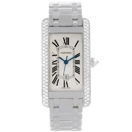 Cartier Tank Americaine 2490 18K White Gold Diamond 22mm Womens Watch