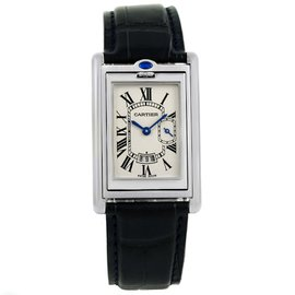 Cartier Tank Basculante 2522 Stainless Steel Silver Dial 26.5mm Mens Watch