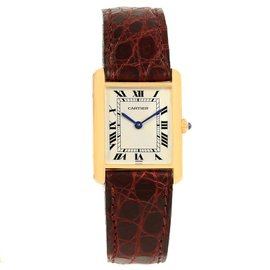 Cartier Tank Classic 1140 18K Yellow Gold Burgundy Strap 23mm Unisex Watch