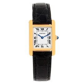 Cartier Tank Classic Paris 18K Yellow Gold Black Strap 20mm Womens Watch