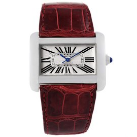 Cartier Tank Divan XL W6300755 Stainless Steel Silver Dial 30mm Womens Watch