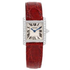 Cartier Tank Francaise WE100231 18K White Gold and Diamond 20mm Womens Watch