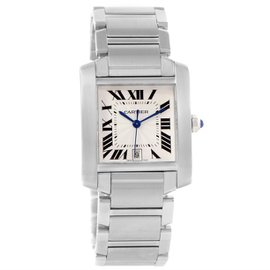 Cartier Tank Francaise W51002Q3 Stainless Steel & Silver Dial Automatic 28mm Mens Watch