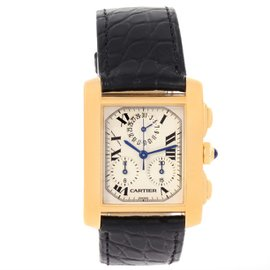 Cartier Tank Francaise W5000556 18K Yellow Gold Quartz 28mm Mens Watch