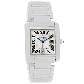 Cartier Tank Francaise W50011S3 18K White Gold Automatic 28mm Unisex Watch