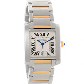 Cartier Tank Francaise W51005Q4 Stainless Steel 18K Yellow Gold Date 28mm Mens Watch