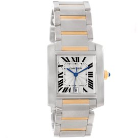 Cartier Tank Francaise W51005Q4 Stainless Steel 18K Yellow Gold 28mm Mens Watch