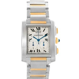 Cartier Tank Francaise W51004Q4 Two Tone Stainless Steel and 18K Yellow Gold Chrongraph 28mm Mens Watch