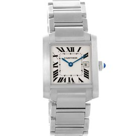 Cartier Tank Francaise W51011Q3 Stainless Steel Silver Roman Dial 25mm Womens Watch