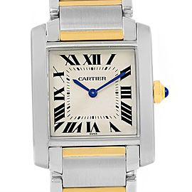 Cartier Tank Francaise W2TA0003 Stainless Steel 18K Gold Quartz 22mm Womens Watch