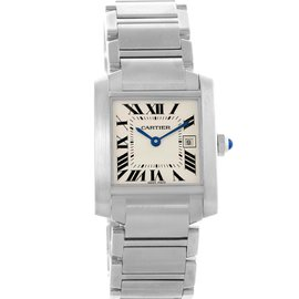 Cartier Tank Francaise W51011Q3 Stainless Steel & Silver Dial 25mm Womens Watch